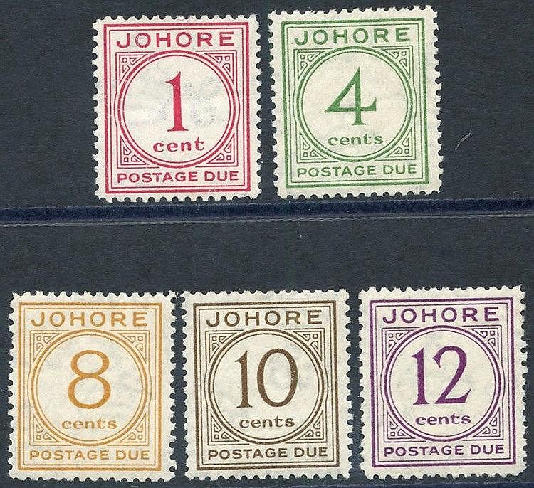 JOHORE 1938 Postage Due set, fine M, SG.D1/5. (5) Cat. £200