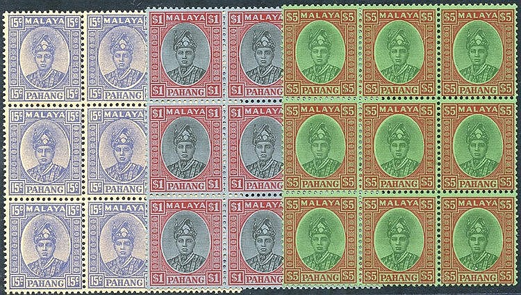 PAHANG 1936 $5 green & red/emerald UM block of fifteen, usual gum