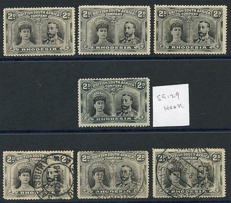 1910-13 2d Double Heads, small group comprising SG.128 (3) & SG.1