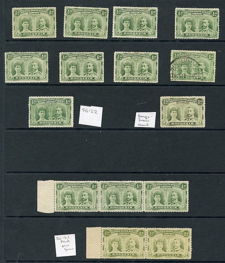 1910-13 ½d double heads M range of 14 stamps incl. SG.122 & one s
