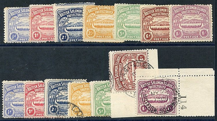 1907 set to 1s unused or o.g, ½d, 1d (small gum tones), also set