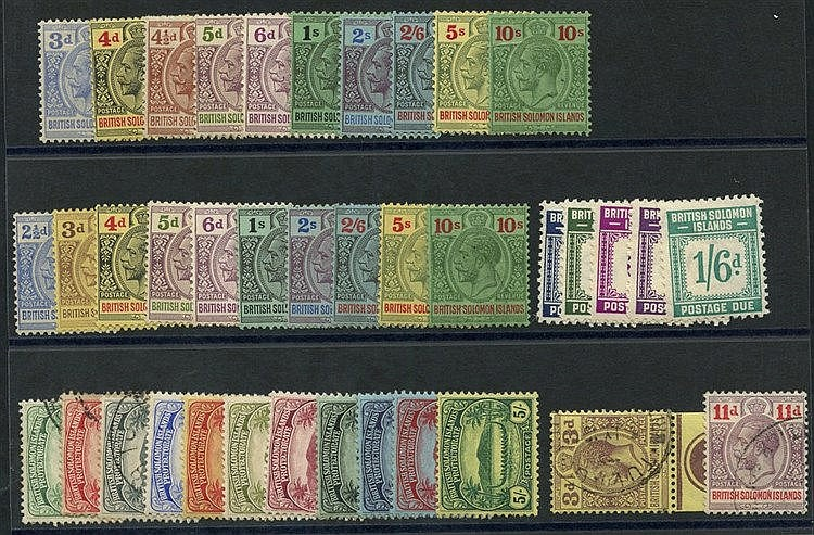 1908-11 set to 5s (the ½d, 1d, 2d U, 2½d to 5s M), 1914-23 2½d to