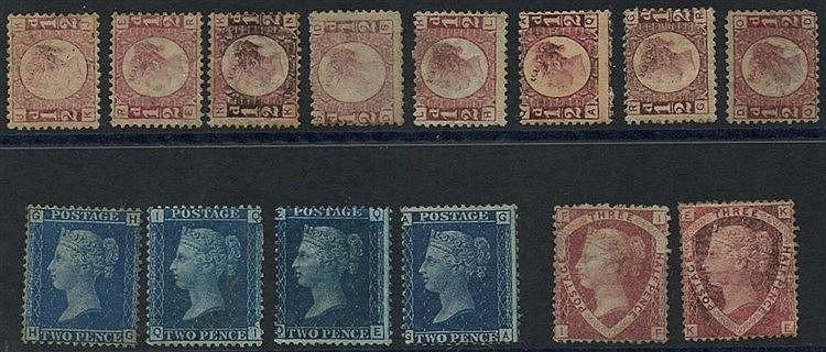 1858 2d Plates 9, 13 (2) & 15, 1870 ½d Bantam (8) - various plate