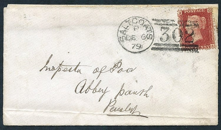 1879 Dec 6th cover, franked 1d Pl.225, tied Saltcoats duplex, cov