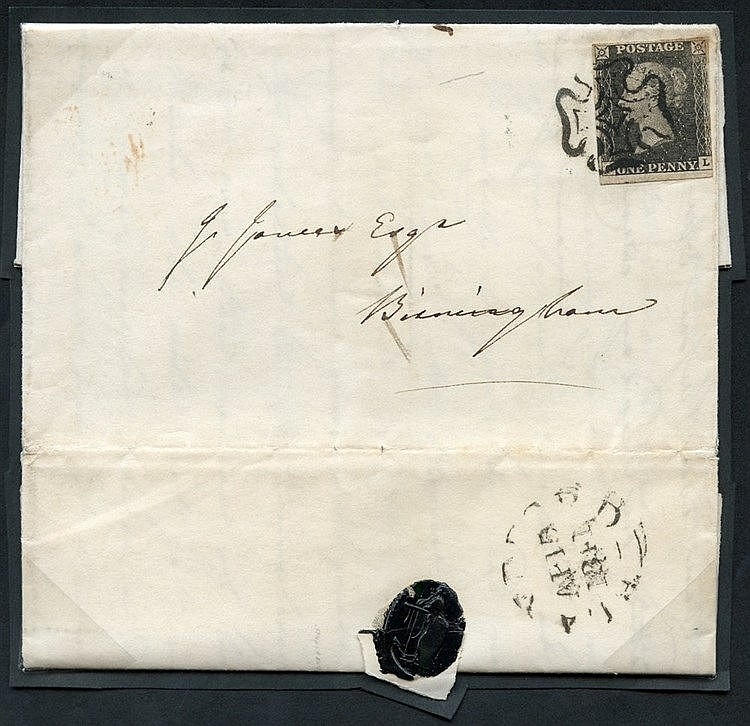 1841 April 15th cover from Blandford to Birmingham, franked Pl.11
