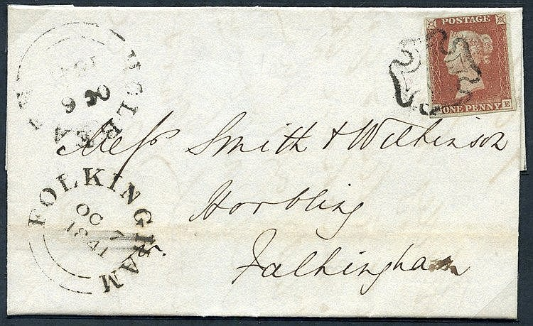 1841 Oct 6th cover from Holbeach to Folkingham, franked Pl.1b ME,