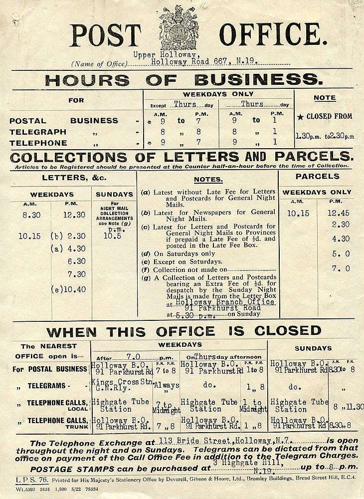 1685-1922 Post Office or postal related letters or ephemera incl.