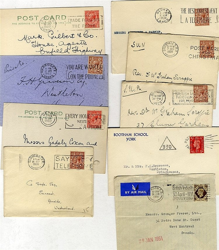 SLOGAN POSTMARKS KGV-KGVI period accumulation of covers or stamps