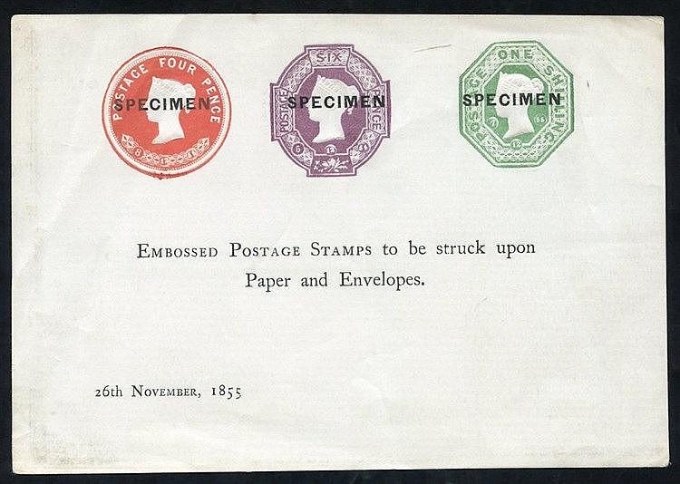 1855 Nov 26th SPECIMEN Proof sheet showing QV 1s, 6d & 4d dated d