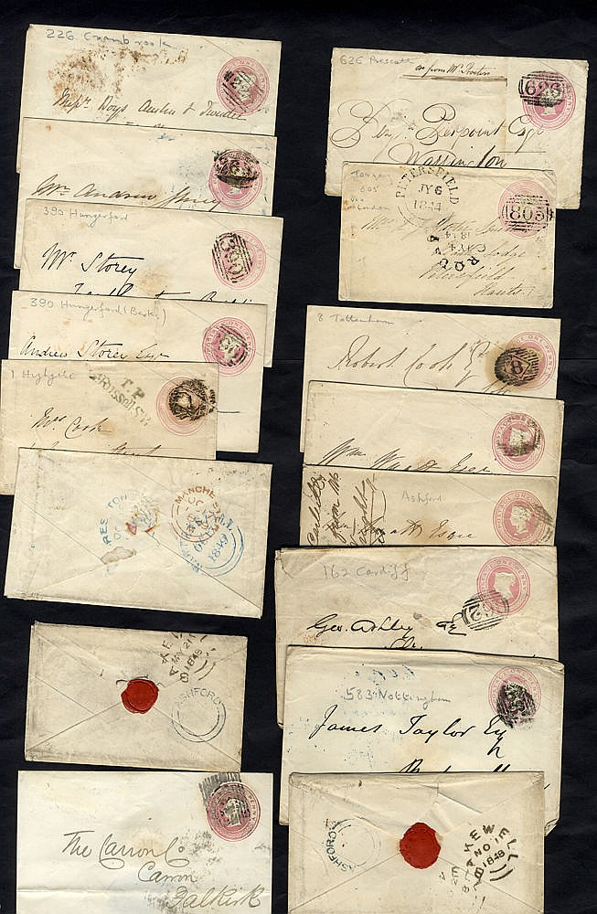1844-59 1d pink envelopes (90) all are used with English or Scots