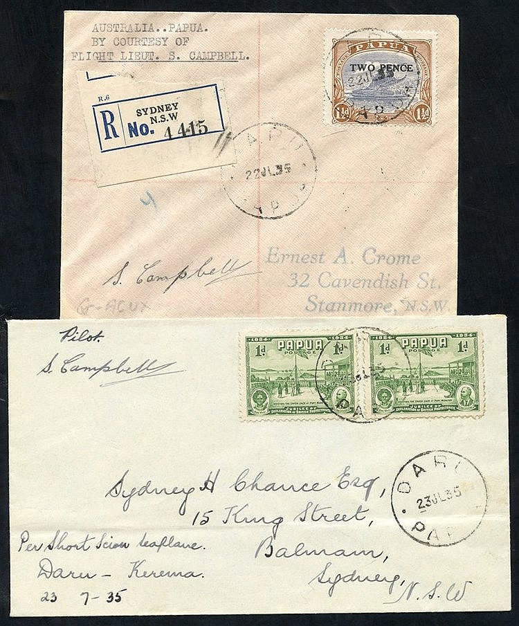 1935 (July 22) Australia-Oaoua flown cover signed by the pilot (o