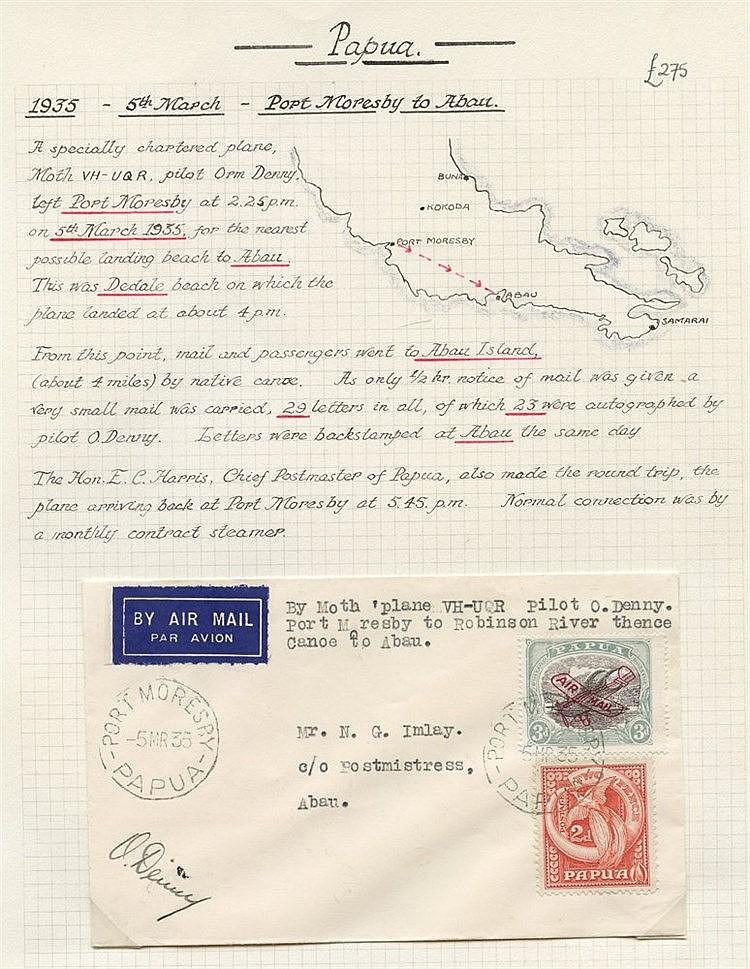1935 (Mar 5) Port Moresby-Abau flown, cover, flown to Robinson ri