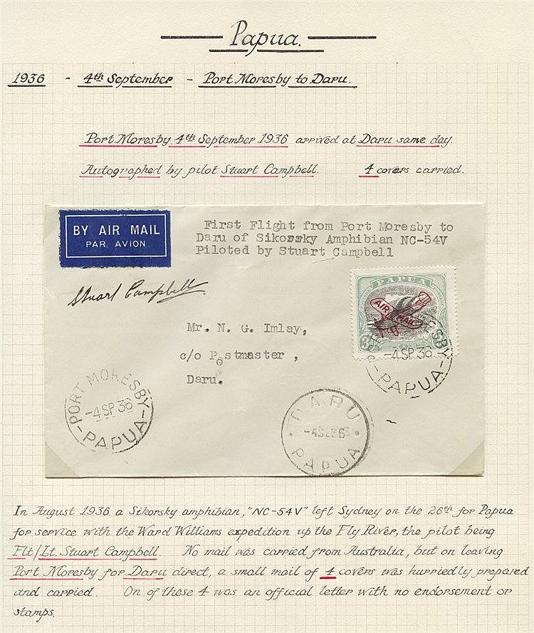 1936 (Sept 4) Port-Moresby-Daru flown cover signed by the pilot S