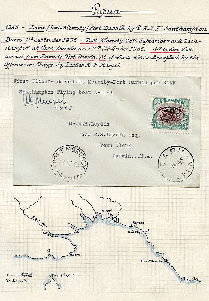 1934 (Sep. 1) Daru-Port Moresby flown cover (pilot signed). Port-