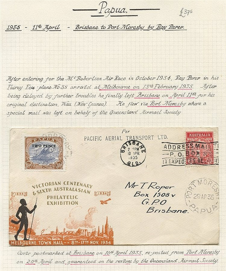 1935 (Apr 11) Brisbane-Port Moresby flown cover from the Queensla
