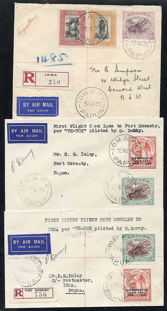 1935 (Aug 30) Port Moresby-Ioma and return flown covers, both sig
