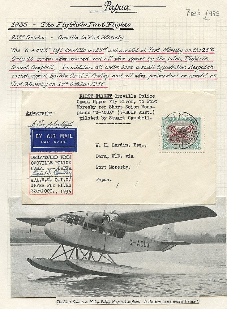 1935 (Aug 31) Daru-Oroville flown covers, both signed by the pilo