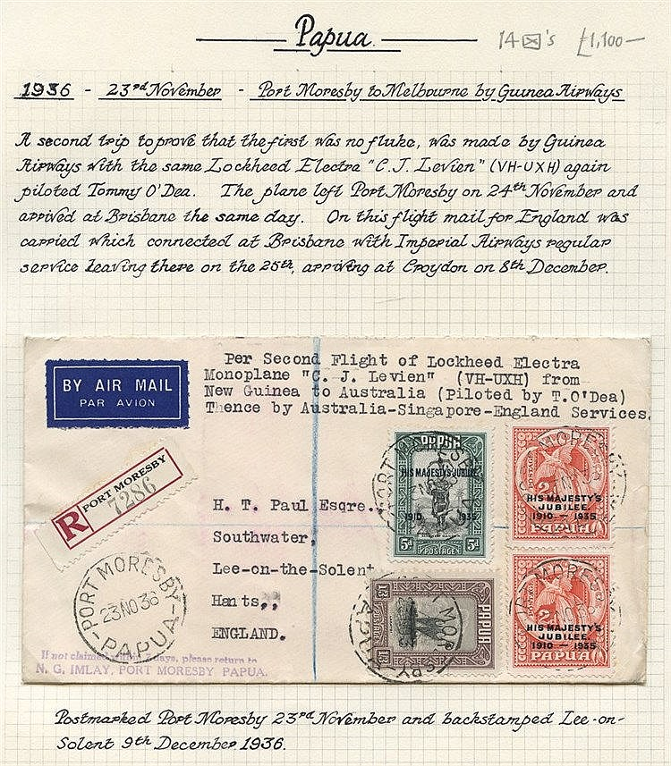 1936-39,a selection of flown covers, written up on leaves incl.