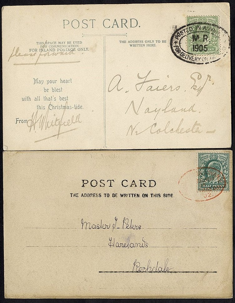 1902 PPC franked Edward ½d, tied small oval (Type1) in red 'Poste