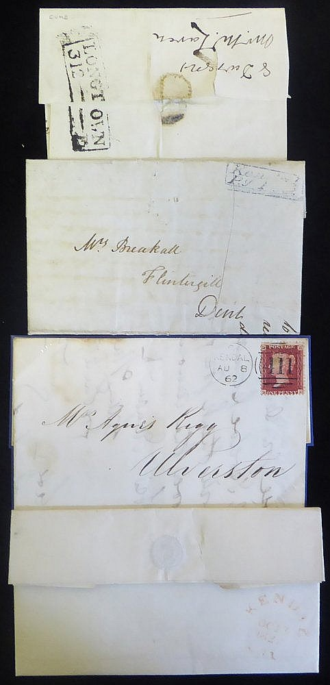 CUMBERLAND - 1827-62 four covers incl. 1827 EL to Kirby Lonsdale