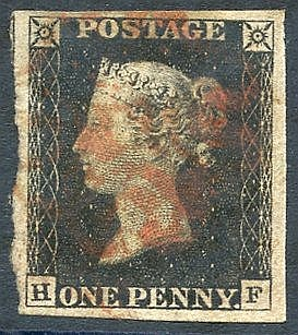 Plate 1b HF, large margins, cancelled in red. (1)