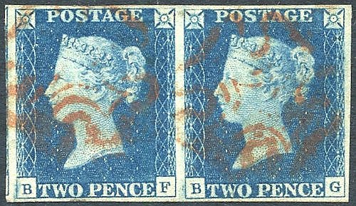 Plate 2 BF/BG horizontal pair, good to large margins, cancelled b