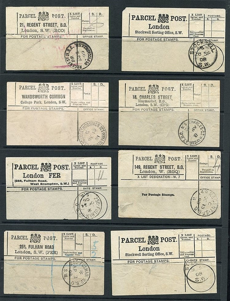 PARCEL POST LABELS selection of white stampless London Parcel Pos