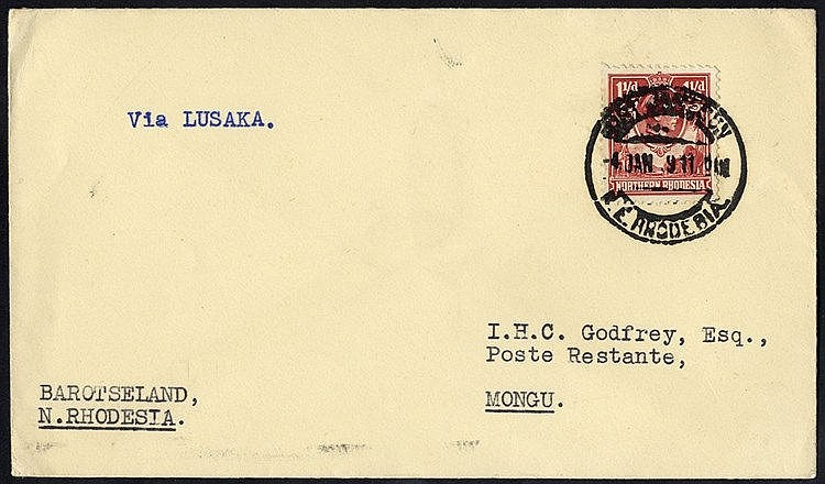 1939 Jan 4th first flight cover Fort Jamieson - Lusaka and on to