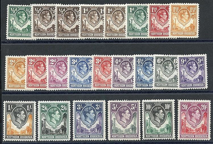 1938-52 Defin set, fine M, SG.25/45. (23) Cat. £250+