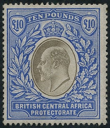 1903-04 £10 grey & blue, unused (some gum present - possible re-g