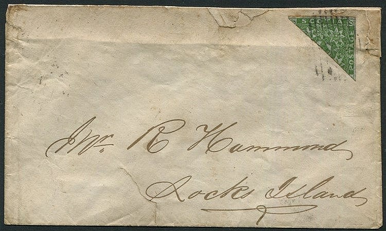 1860 cover addressed to Rocks Island, franked with 6d dark green