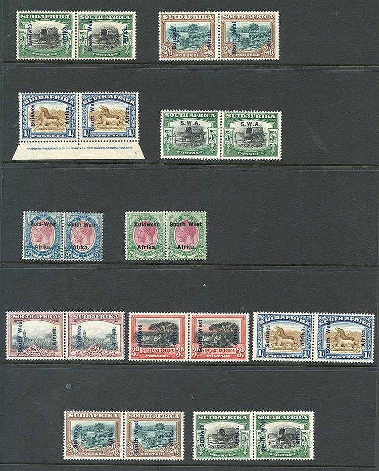 1913 Defin M or UM Plate pairs/strips/blocks vals to 3d, 1½d irre