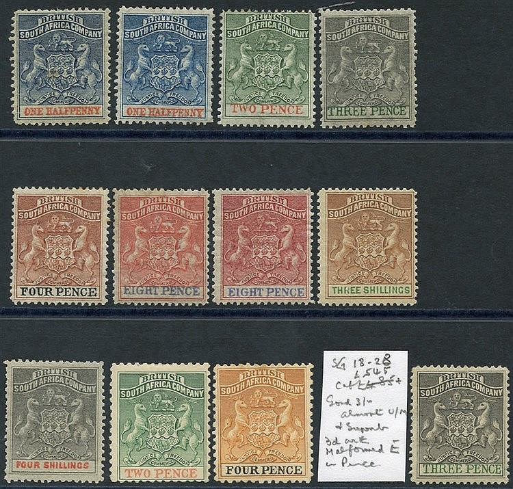 1892-94 & 1895 fine M range ½d to 3s plus extra 3d with malformed