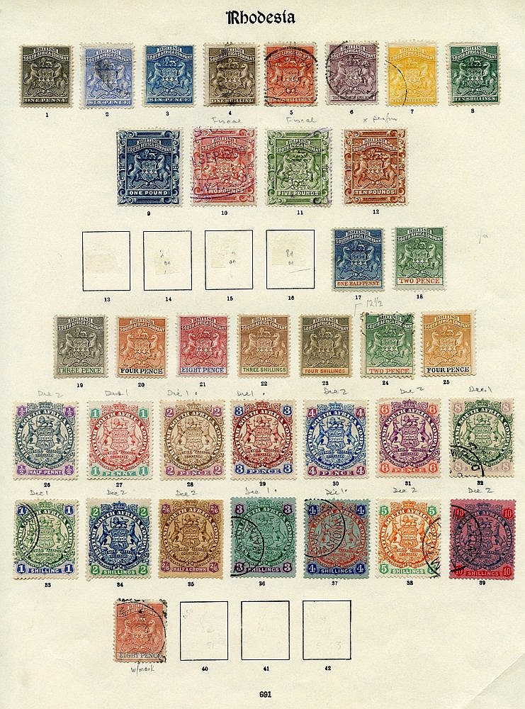 1892-1909 collection on printed leaves comprising 1892 to 5s U, 1