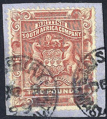 1892-93 £2 Arms, VFU on piece, SG.11, Cat. £170