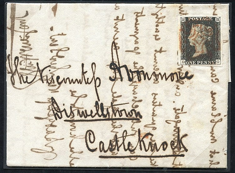 1840 Aug 26th cover from Dublin to Castleknock, franked Pl.1b DG,