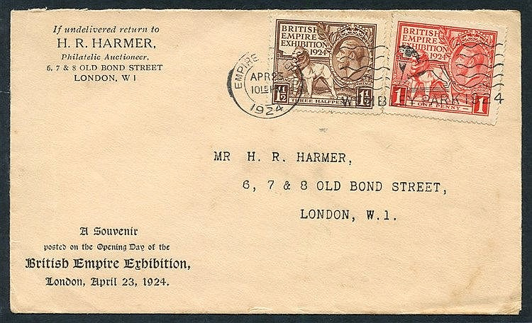1924 Wembley set used on a 'Harmers' display FDC.