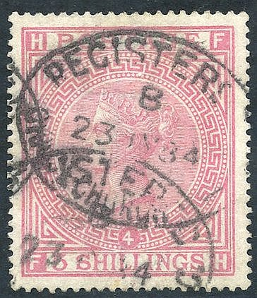 1867 Wmk Anchor 5s rose Pl.4, FU with oval registered d/stamps, S