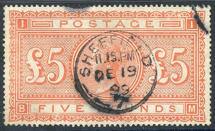1867-83 £5 orange, U with centrally struck Sheffield c.d.s. for D