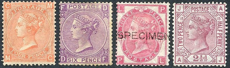 1865-73 4d vermilion (SG.94) Pl.13 unused creased, 1870 6d mauve
