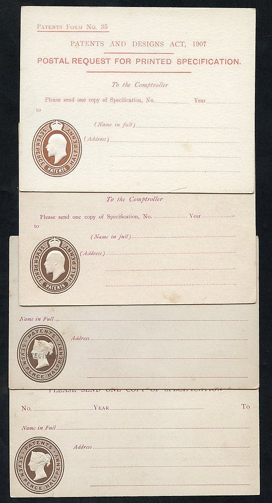 QV-KGV four official postcards to the Comptroller Patent Office e