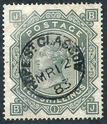 1867-83 Wmk Maltese Cross 10s grey-green, VFU with Hope St, Glasg