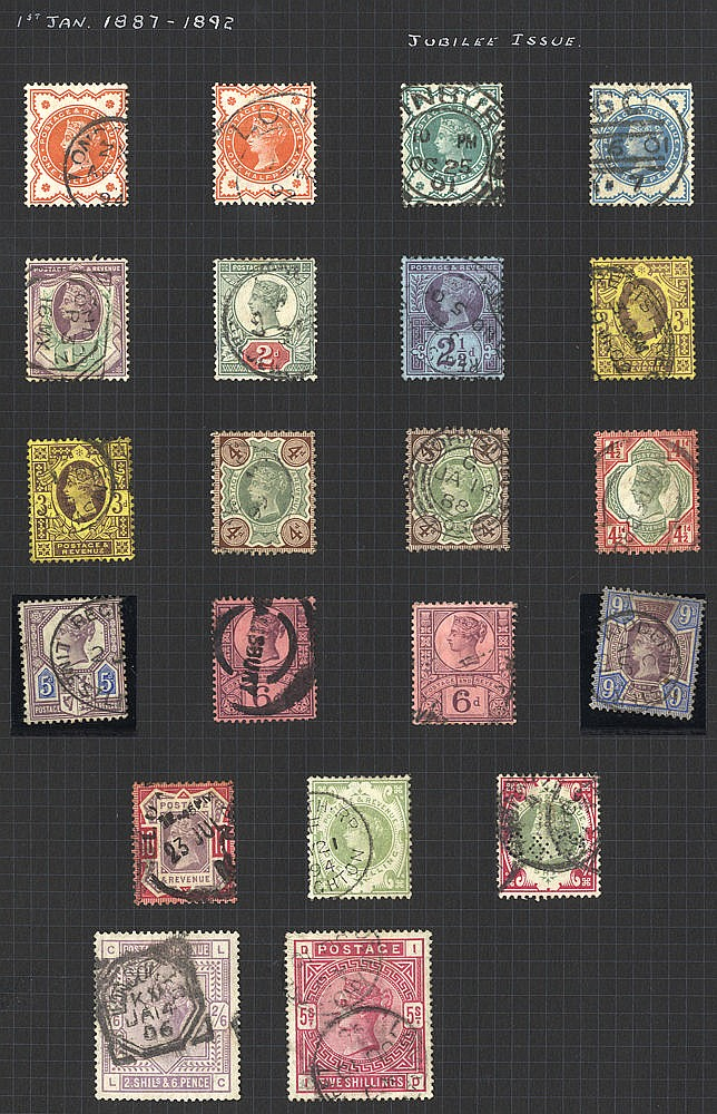 1883-1966 COLLECTION of M & U on black leaves incl. 1883 2/6d, 5s