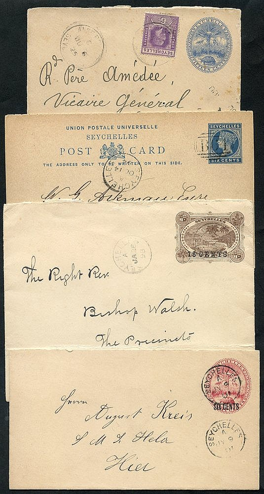 1894 QV 6c complete reply card cancelled B64, 1898 18/30c & 1901
