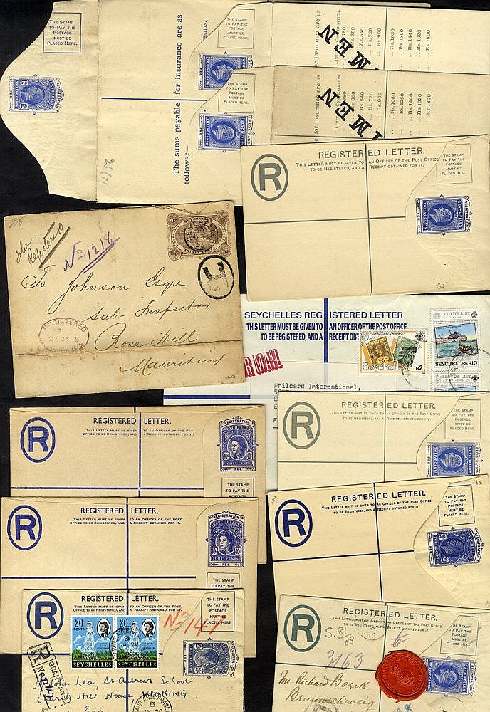1895-1990 range of reg covers with 1985 30c stationery envelope t