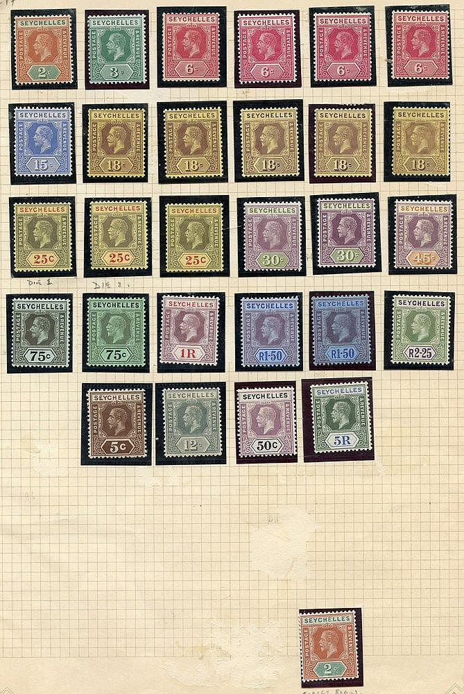 1917-22 MCCA set, M + extra shades, SG.82/97. (29) Cat. £270