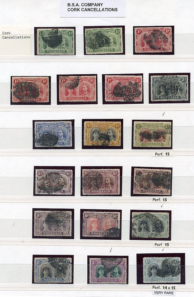 CORKS & UNIDENTIFIED CANCELLATIONS selection (19) on ½d (2), 1d (
