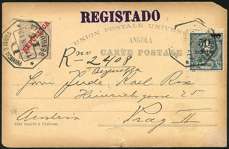ANGOLA 1912 reg 20r violet postal stationery card uprated with 50