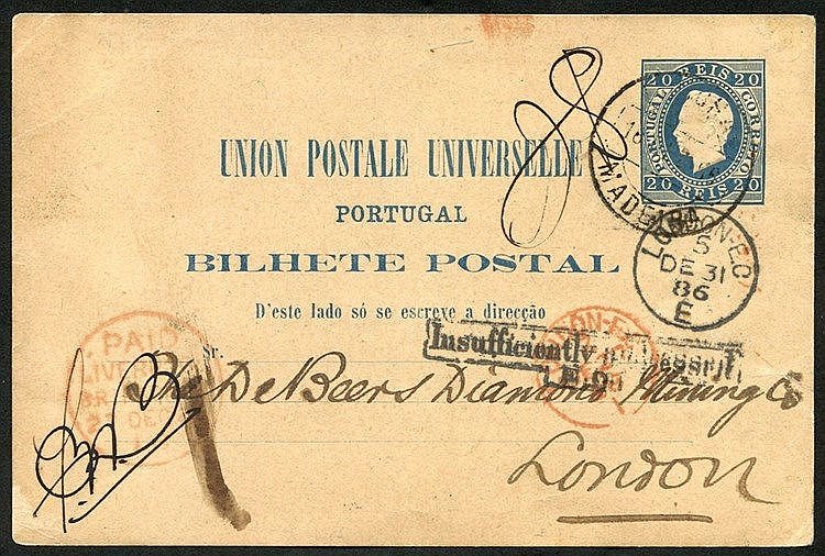 FUNCHAL 1886 postal stationery card 20r blue, cancelled by Funcha