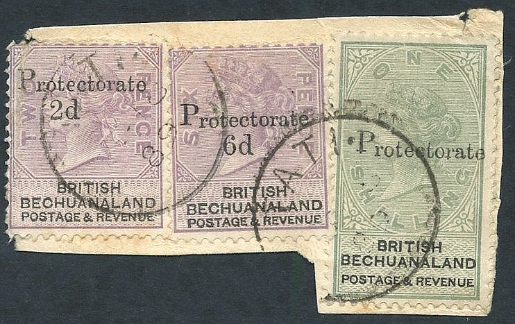 1888 Bechuanaland 2d on 2d, 6d on 6d & 1s SG.42,45,46 tied to pie